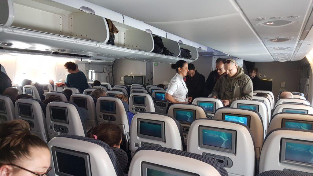 Vue depuis nos sièges dans l'A380 qui assure le voyage entre londres et san francisco