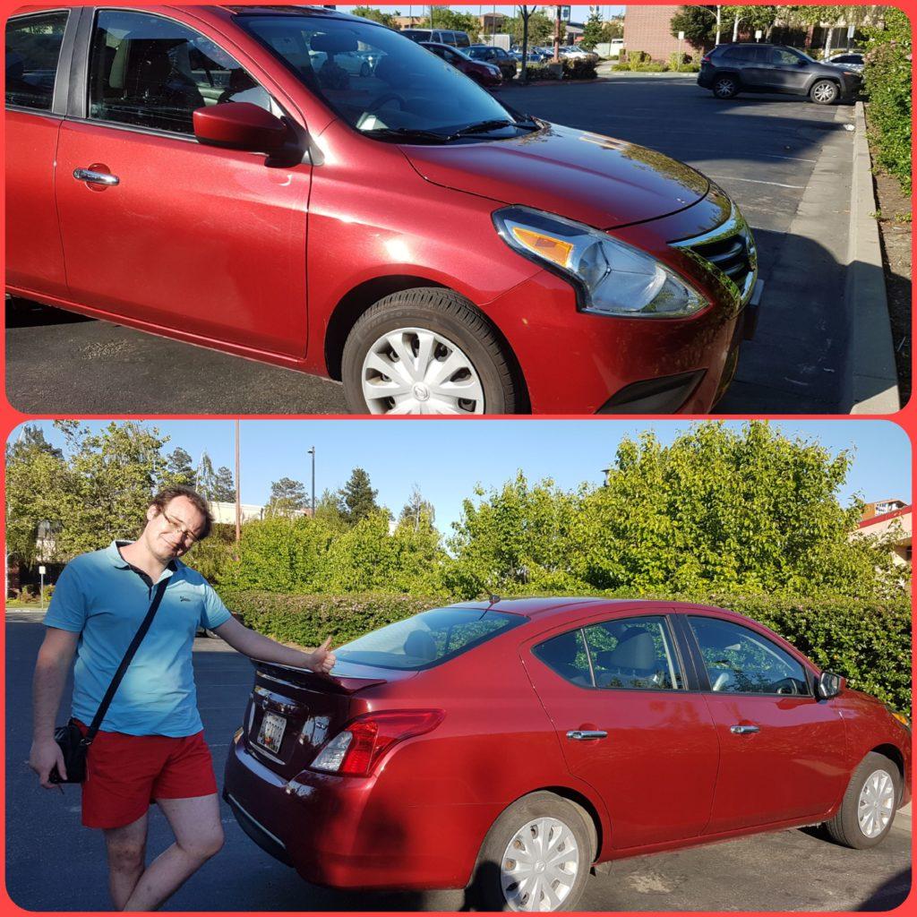 Voiture de location. Louée chez Hertz. Automatique bien sûr. Rouge pour la retrouver plus facilement sur les parkings qui sont rarement petits. Petit bip au moment de la fermeture centralisée, histoire d'être sûrs de ne pas passer inaperçus*.