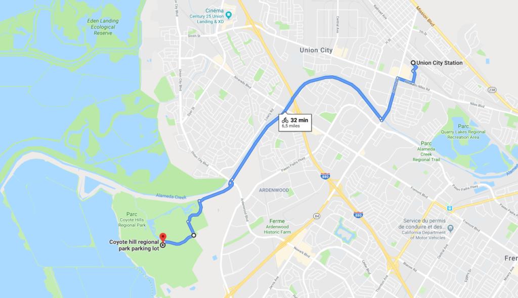 Trajet à vélo entre l'arrêt de BART Union city et le Coyote Hills Regional Park.