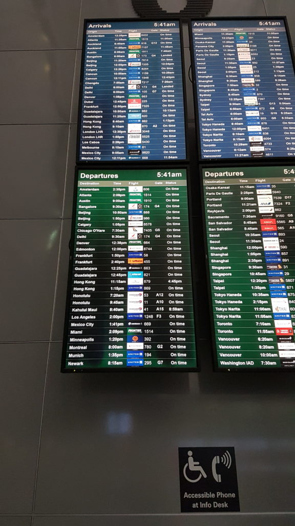affichage des vols au départ de SF