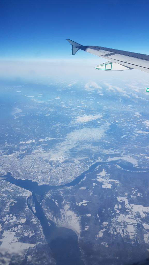 vue 1h avant d'atterrir à Montréal