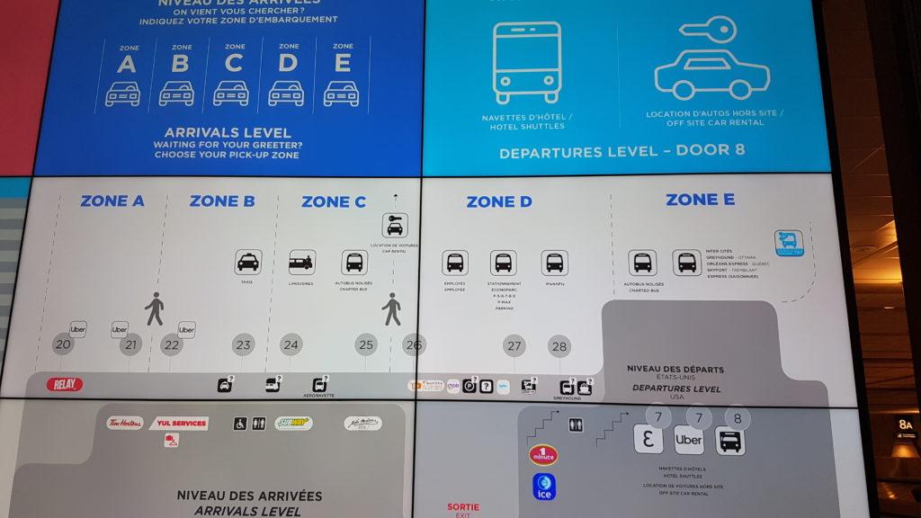 plan des zone aéroport de Montréal