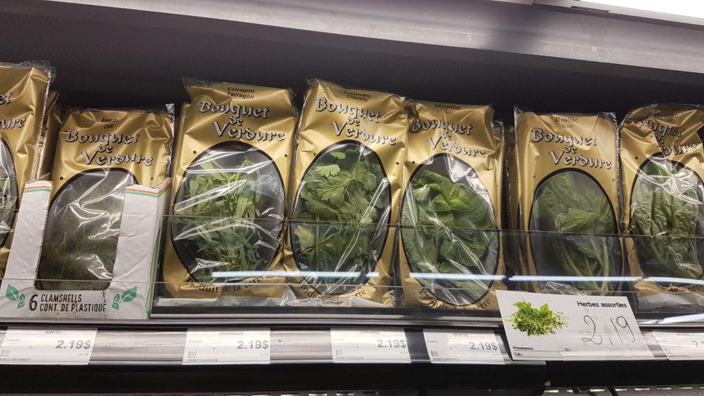 bouquet de verdure en superette