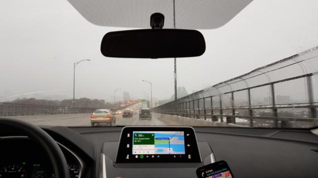 Traversée pont Montréal en voiture.
