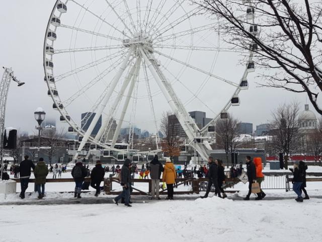 Patinoire et grande roue vieux port Montréal.