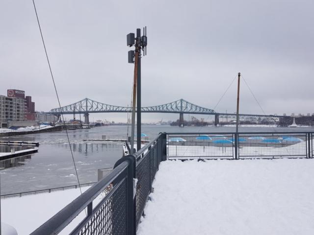 """C'est le lieu de """"Montréal plage"""" l'été, on voit d'ailleurs les parasols (bleus) en dur qui restent vaillamment là toute l'année."""