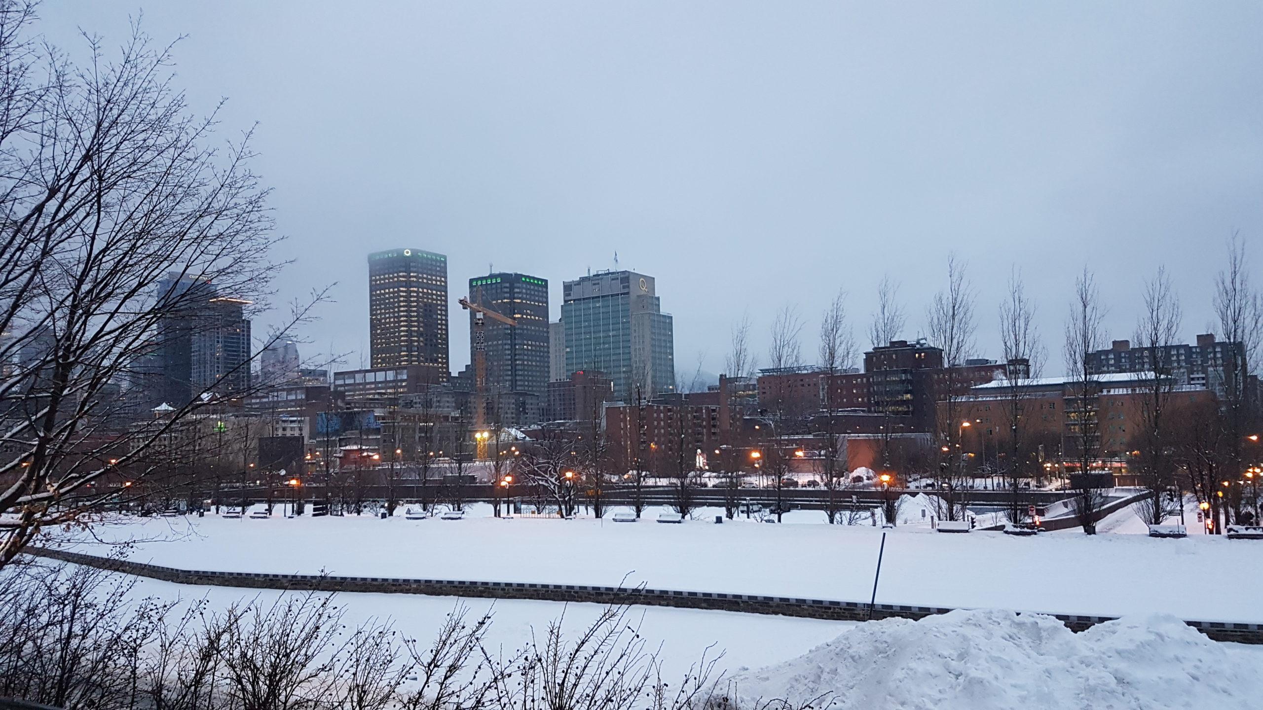 La ville commence à s'éclairer tout doucement à mesure que le jour tombe.