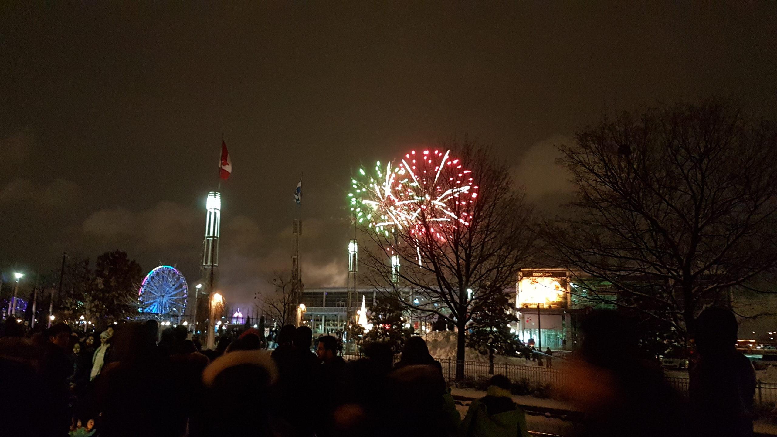 Feu d'artifice nouvel an 2019 Montréal.