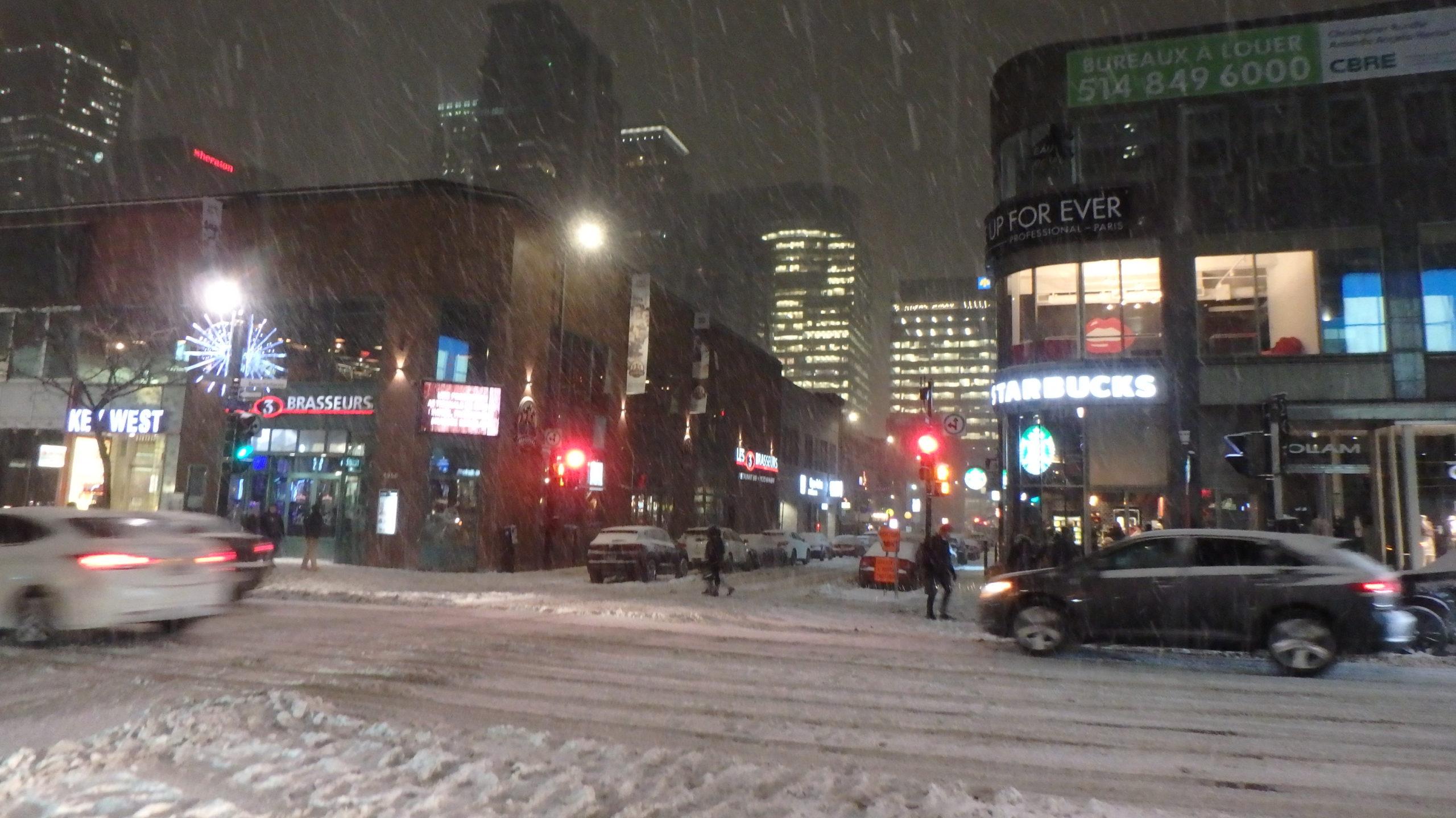 Rue Sainte Catherine sous la neige.