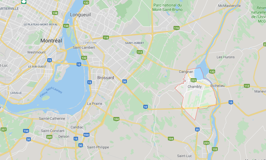 carte région montreal chambly