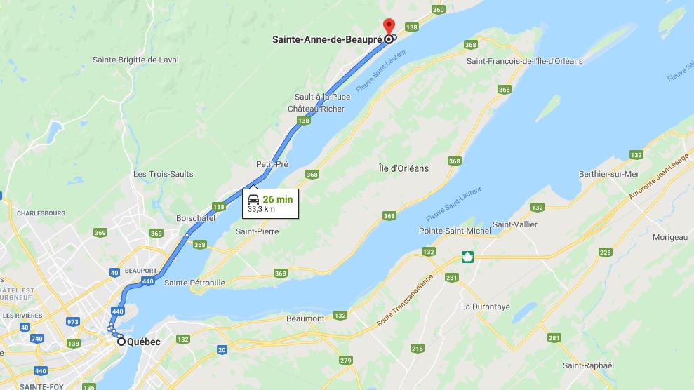 plan du trajet entre la ville de Québec et celle de Saint Anne de Beaupré