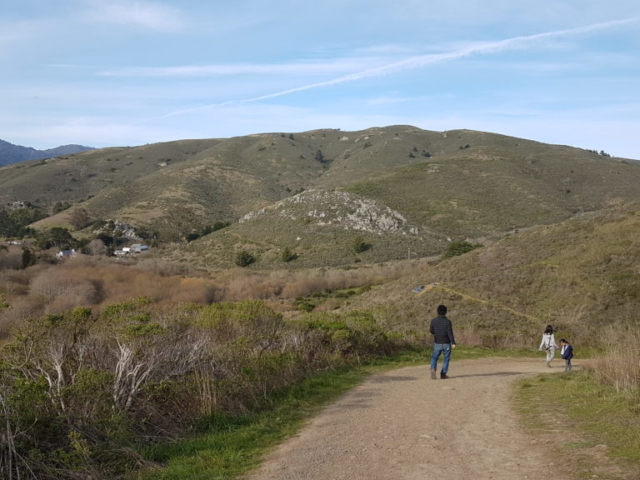 Trail sur les hauteurs aux abords de la plage. Le long du littoral.