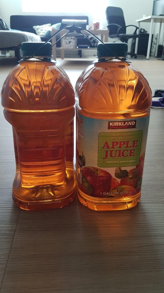 bouteilles de jus de pommes 1 gallon