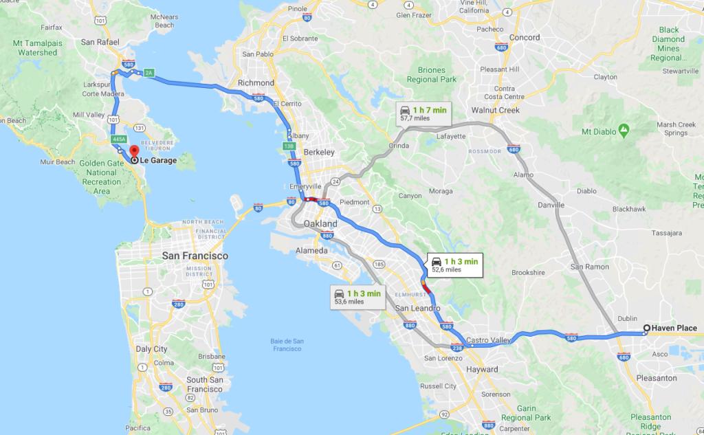 Plan du trajet entre Dublin et Sausalito