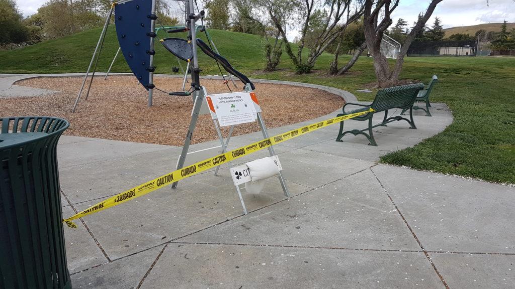 aire de jeux interdite durant le confinement à dublin californie