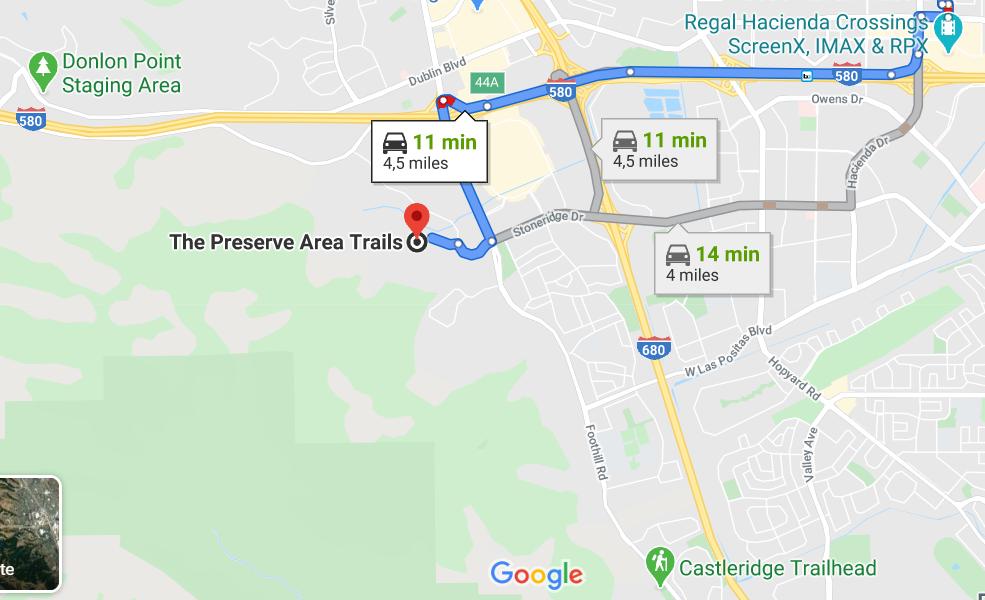 Trajet pour se rendre à The Preserve Area Trails, Pleasanton, CA 94588