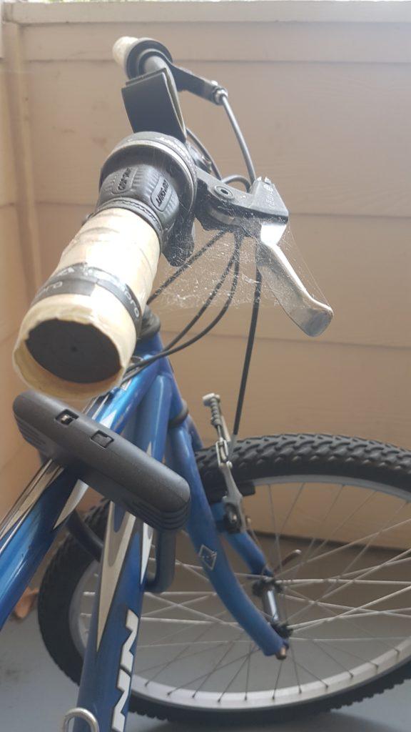 toile d'araignée sur le vélo