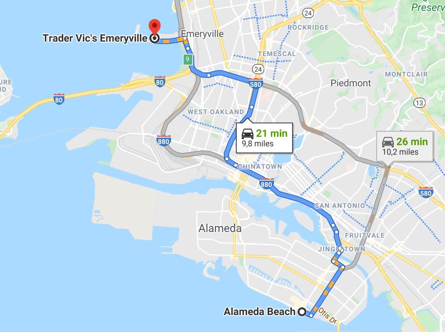 trajet entre alameda beach et le restaurant trader vic's d'Emereyville