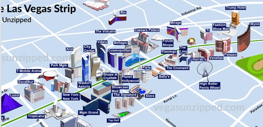 Mappa della Strip di Las Vegas