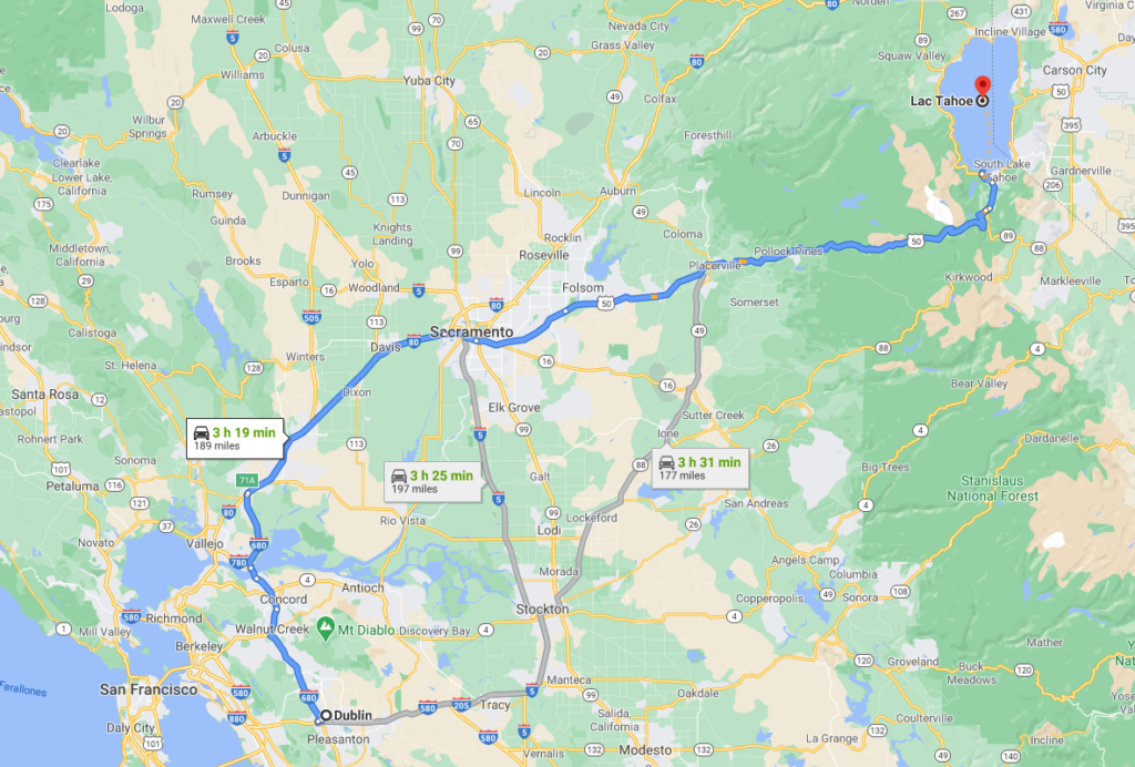 carte du trajet dublin lac tahoe